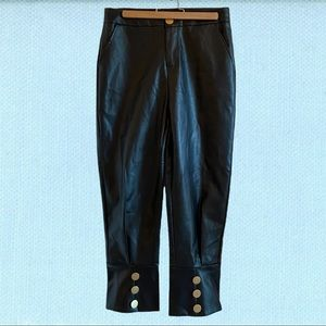 Faux leather cropped balloon pants